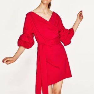 Zara Red ruffle sleeve wrap stretch dress XL